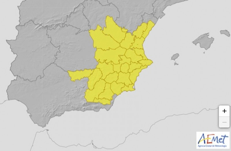 <span style='color:#780948'>ARCHIVED</span> - Weather: yellow weather warning for rain and thunderstorms in Alicante on Thursday