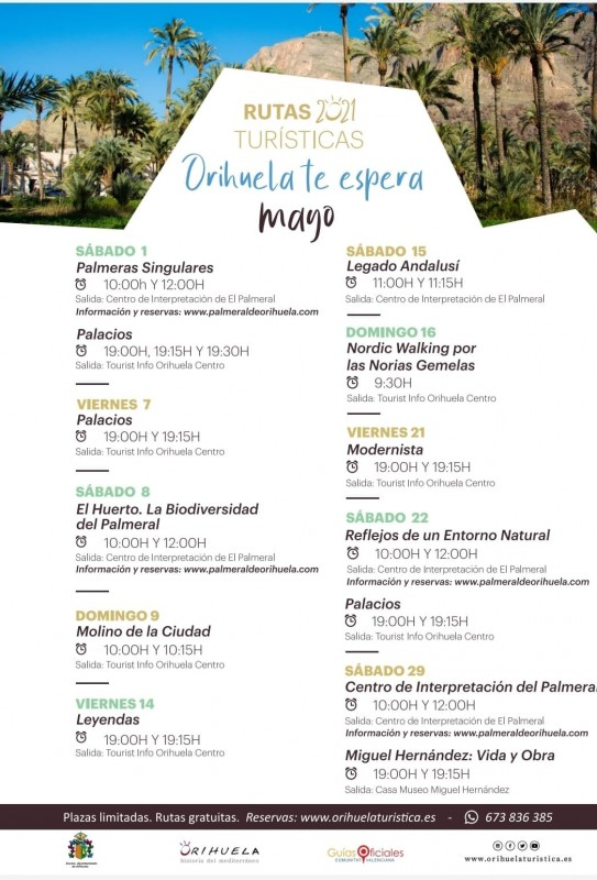 Free guided tourism routes in Orihuela throughout May