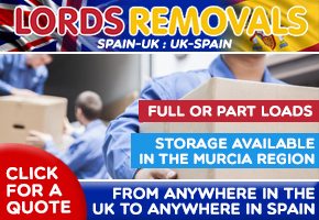 Lords removals, full or part loads UK-Spain